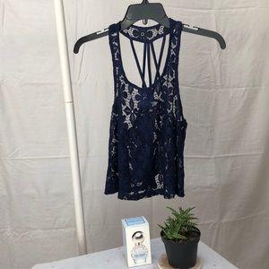 navy blue lace crop top